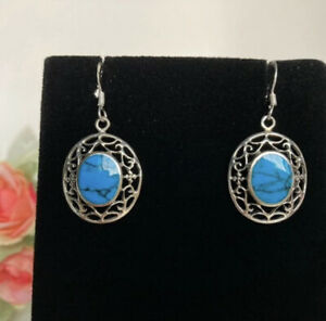 925 Silver Filigree Turquoise Earrings