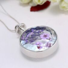 2015 Purple Dried Real Flower Clear Glass Locket Pendant Necklace Silver Chain