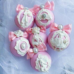 Christmas Ornaments Pink Handmade Ballerina Shabby Chic Christmas Tree Bauble