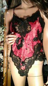 SEXY VTG OSCAR DE LA RENTA RED & BLACK BODYSUIT LINGERIE LIQUID SATIN SZ 36 M