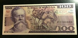 1982 MEXICO 100 PESOS  NICE UNCIRCULATED BANK NOTE