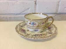 Antique German Dresden Porcelain Cup & Saucer w/ Floral & Gold Decoration
