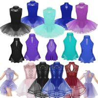 Girls Lace Mesh Ballet Dance Leotard Gymnastics Ice Skating Dress Skirt Costume