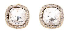 Earrings Gold Authentic New 7325a Swarovski Elements Crystal Square Halo Pierced