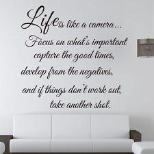 Hágalo usted mismo arte de Pared Calcomanías vida Cámara Frases Pared Adhesivo Decoración Habitación De Casa Desmontable
