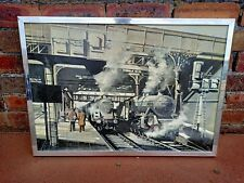 Rail Art ~Original Oil Painting by D.Halliwell 1974~Steam Trains in Manchester