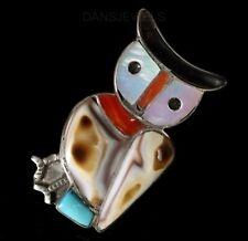 Onyx and Coral Owl Pin Pendant Vintage Zuni Old Pawn Sterling Turquoise, Shell,