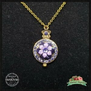 Necklace Michal NEGRIN Swarovski Crystals flowers Made in Israel