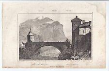 Puente de San Mauricio. Grabado. Siglo XIX. Valais. Suiza. Suisse