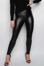 Cuero señoras polar forrado Legging Wet Look PVC de cintura alta pantalones ajustados pullup