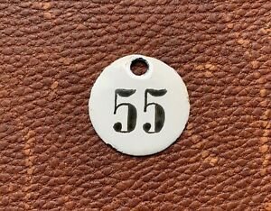 Number 55 Vintage Enamel Train Seat Numbers from Europe Lucky Number House Room