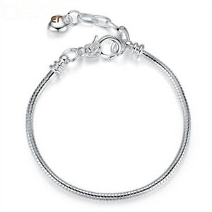 European Women 925 Silver Plated Can Put Charms Bracelets Jewelry Adjustable