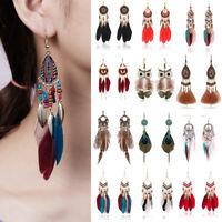 Boho Womens Feather Owl Leaf Tassel Earrings Long Dangle Ear Hook Bride Jewelry