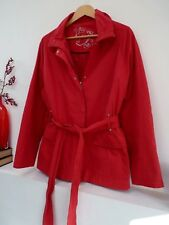 "Ladies Klass Collection Red Belted Hip Length Light Coat Size L, Pit 25"" Vgc"