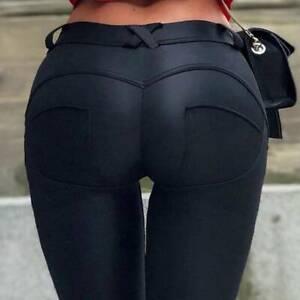 UK Womens PU Leather Pants High Waist Wet Look Skinny Stretch Leggings Trousers
