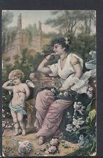 Artistic Postcard - Cupid, Temple Garden, Flowers   RS17134