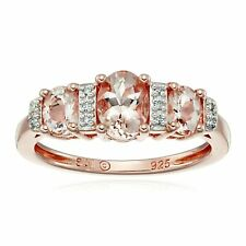 Morganite Three-Stone Band Ring w/ Diamonds 10K Rose Gold Plated-Sterling Silver