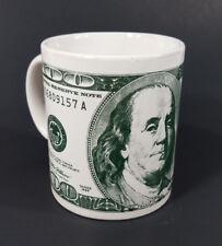 $100 dollar bill green print Benjamin Franklin money collectible coffee mug cup