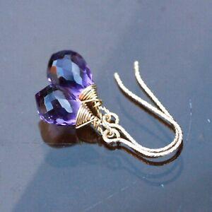 Small Briolette Amethyst Earrings 14K Yellow Gold Filled , February Birthstone