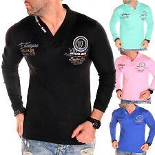 Men's Long Sleeve Shirt Sweatshirt V-Neck Italy Neu