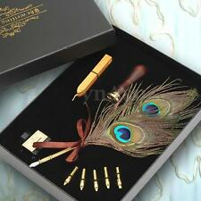 Antique Peacock Feather Quill Dip Pen Writing Ink Set Stationery Box Xmas Gift