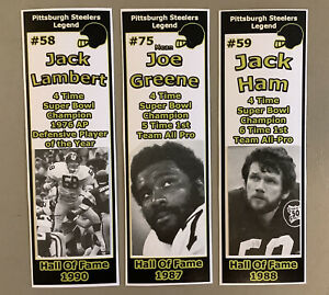 Pittsburgh Steelers / Mean Joe Greene, Jack Ham, & Jack Lambert Bookmark Set