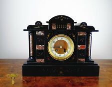 Antique Victorian Black Slate & Marble Mantel Clock by HAC Germany Chiming 8 Day