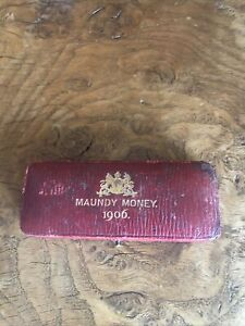Rare Silver 1906 Maundy Money Set In Original Leather Case Excellent Condition