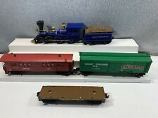 Lionel Lincoln Logs Train Set 312 Great West Locomotive Boxcar, Passenger Car