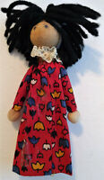 Vintage Wood Peg Clothespin Doll Handmade Soft Hands Yarn Hair Hand Stitched