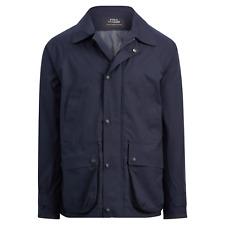 Polo Ralph Lauren Navy Waterproof Leather Garner Lined Stable Coat Jacket NWT