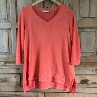 Women's Soft Surroundings Small 3/4 Sleeve Orange Blouse