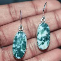 Tree agate gemstone Dangle earrings Jewelry 6.36 g 925 Sterling Sliver