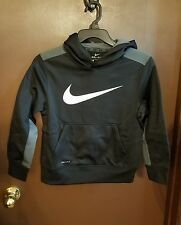Nike Therma-Fit Hoodie boys size small black with gray and white symbol.