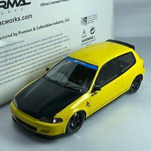 1/18 Tarmac Honda Civic EG6 Spoon Yellow with Carbon Boonet 1993 T01-YL