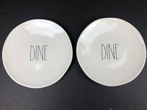 """Rae Dunn 11"""" Ceramic Dinner Plate DINE Set of 2 White plate with Black LL Letter"""