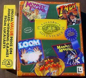 "1992 LucasArts CLASSIC ADVENTURES w 5 PC Games Loom, Zak, Monkey Island+ 3.5"""