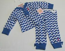JUICY COUTURE Baby 2-PC Blue Chevron Loungewear Ruffled Top & Pants Set 0-3M