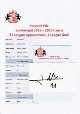Yann m'vila Sunderland 2015-2016 (Prêt) original hand signed Coupe/Carte