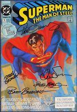 SUPERMAN: MAN OF STEEL #1~SIGNED JURGENS~ORDWAY~BREEDING~McLEOD~SIMONSON~VF/NM