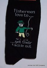 Fisherman and Tackle on Black Mens/Womens Socks