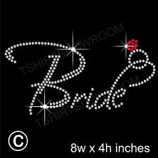 """Bride"" Party Rhinestone Transfer Hotfix Iron on Motif Appliqué with a Free Gift"