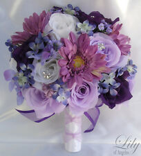 17pcs Wedding Bridal Bouquet Set Decoration Package Flower LAVENDER PURPLE daisy