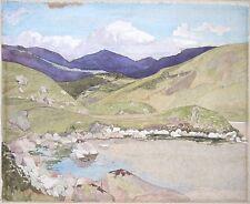 Aquarelle paysage de montagne avec lac rocheux. circa début xxème siècle, moderne.