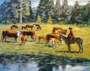 CHECKING THE HERD giclee print of original oil painting by Richard R. Nervig