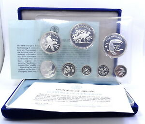 COINAGE OF BELIZE 1974 Proof 8 Coin Set SOLID STERLING SILVER 1C through $10