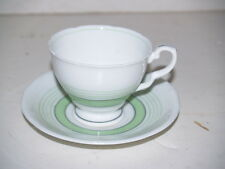 Tea Cup and Saucer-Royal Stafford Bone china-Green and White-Made in England