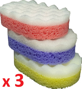 Bath Sponge Exfoliating Shower Body Massage Cleaning Wash Scourer Scrub x3 OFFER