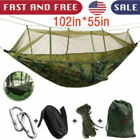 Camping Hammock Double Person Travel Outdoor Swing Hanging Bed With Mosquito Net