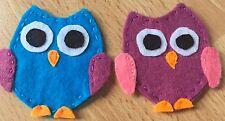 Handmade 2 Felt Owls Shabby Chic Decorative Owl Applique Crafting Hand Made